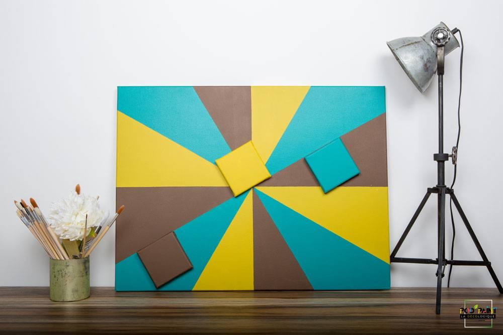 peinture mate bleu brun jaune