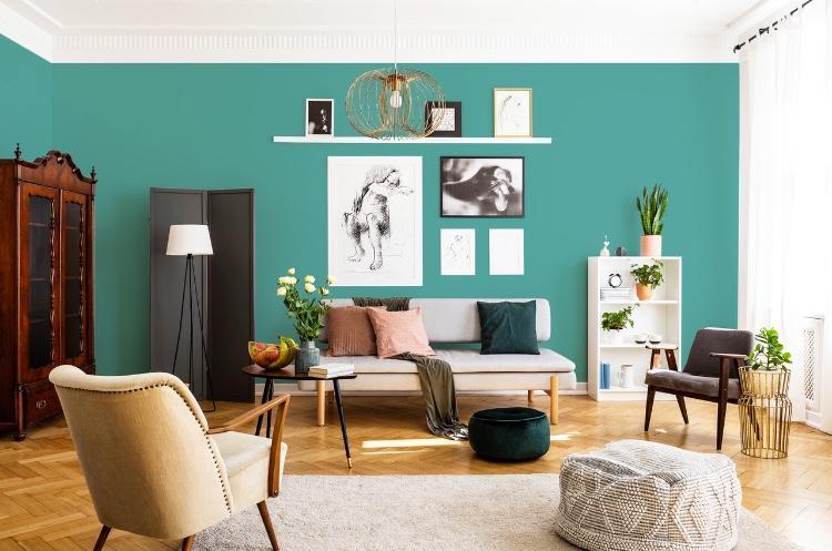 Application peinture mate bleu vert scintillante aventurine