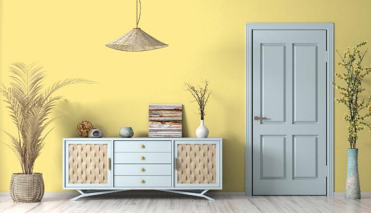 Peinture jaune mur réveil de citrine