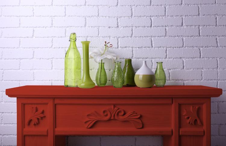Relooking meuble peinture rouge Taureau Andalou