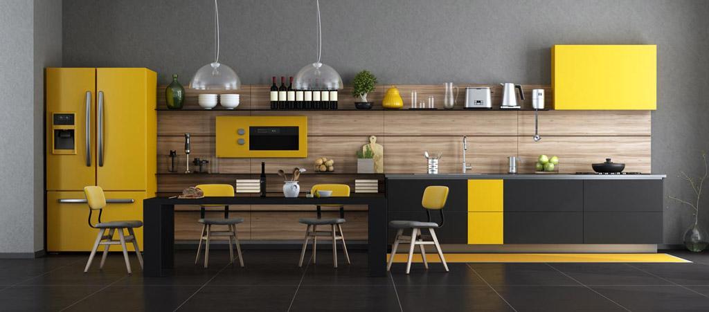 Cuisine avec des nuances de jaune