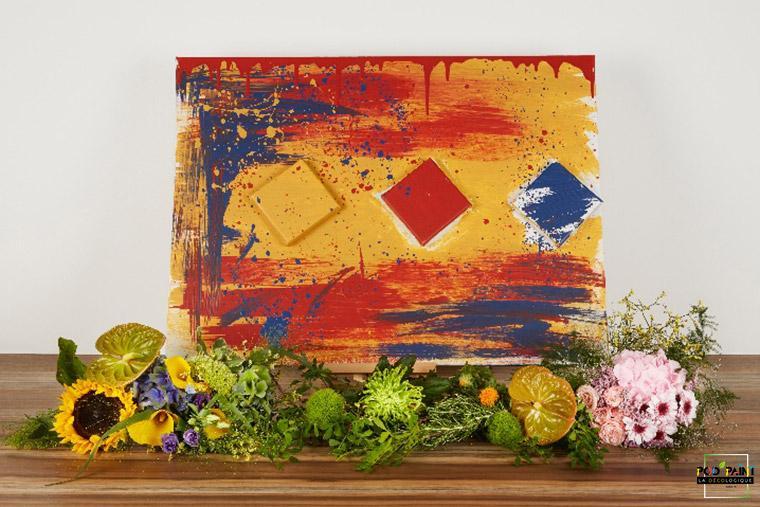 Peinture écologique mate rouge bleu jaune