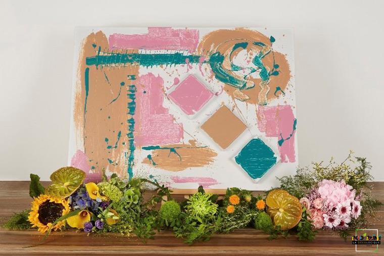 Tableau frais rose vert peinture écologique Podpaint
